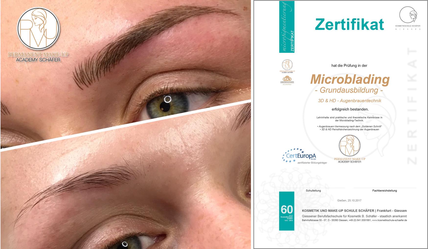 Microblading - Kosmetikschule Schäfer - Zertifikat PMU Schäfer 17
