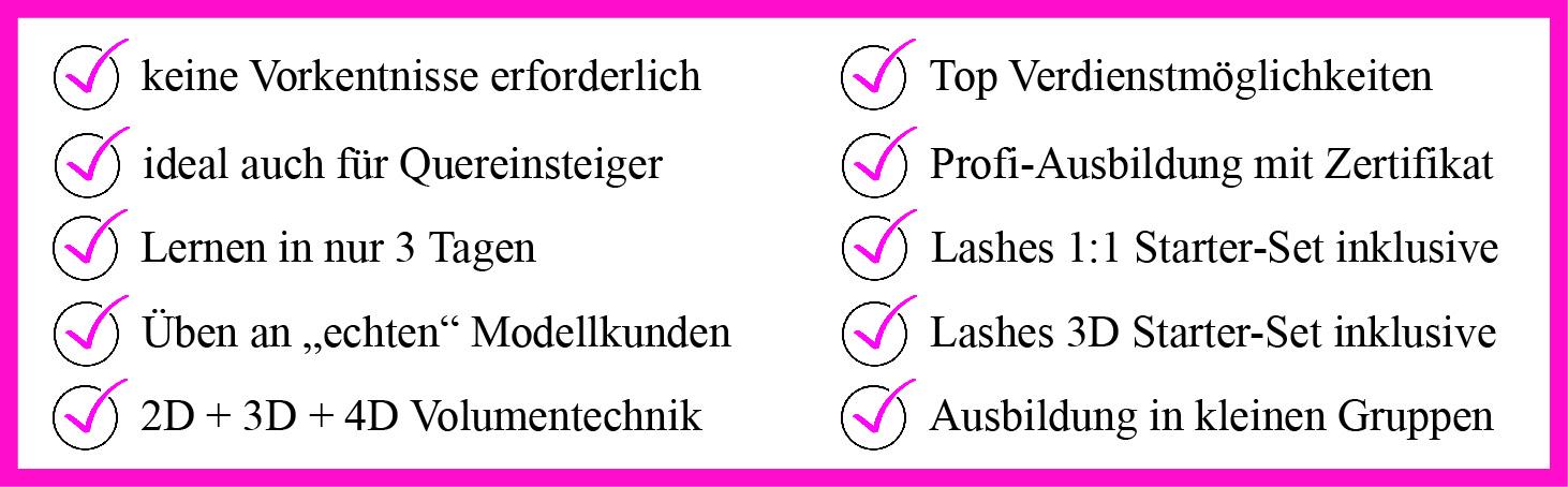 lashes 1-1 + 3D Ausbildung Kosmetikschule Schäfer